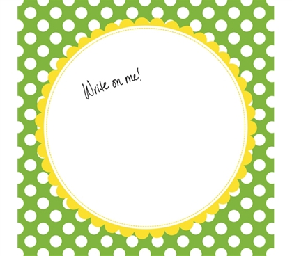 Graduation Gift Idea for Girls - Canvas Kudos - Signable Wall Canvas - Scallop Circle Light Green And Yellow