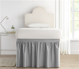 Dorm Sized Bed Skirt Panel with Ties - Alloy