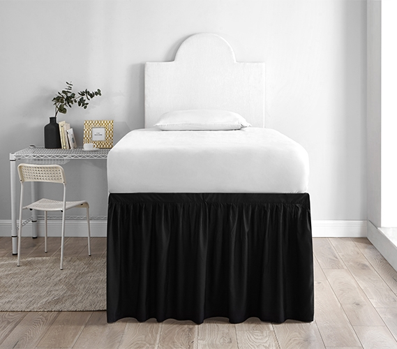 Dorm Sized Bed Skirt Panel With Ties Black