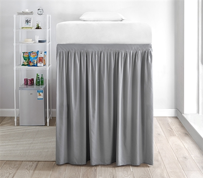 Extended Dorm Sized Bed Skirt Panel with Ties - Alloy (For raised or lofted beds)