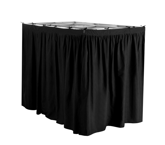 Extended Dorm Sized Bed Skirt Panel With Ties Black
