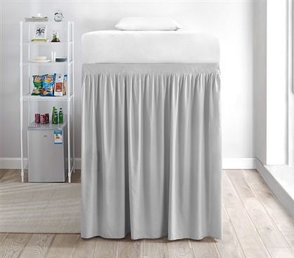 Extended Dorm Sized Bed Skirt Panel with Ties - Glacier Gray (For raised or lofted beds)