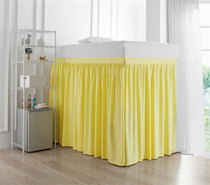 Extended Dorm Sized Bed Skirt Panel with Ties - Limelight Yellow (For raised or lofted beds)