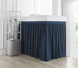 Extended Dorm Sized Bed Skirt Panel with Ties - Nightfall Navy (For raised or lofted beds)