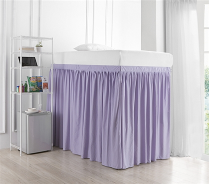 Extended Dorm Sized Bed Skirt Panel with Ties - Orchid Petal (For raised or lofted beds)