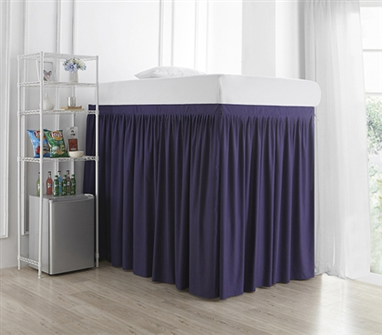 Extended Dorm Sized Bed Skirt Panel with Ties - Purple Reign (For raised or lofted beds)