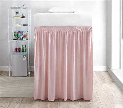Extended Dorm Sized Bed Skirt Panel with Ties - Rose Quartz (For raised or lofted beds)