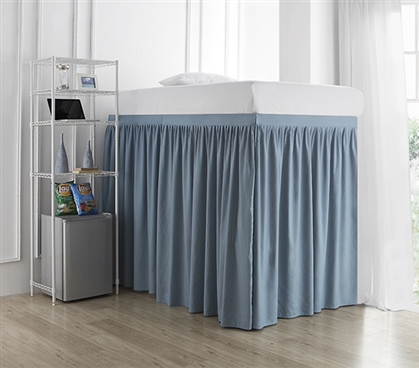 Extended Dorm Sized Bed Skirt Panel with Ties - Smoke Blue (For raised or lofted beds)