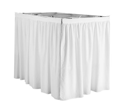 Extended Dorm Sized Bed Skirt Panel with Ties - White