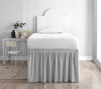 Dorm Sized Bed Skirt Panel with Ties - Glacier Gray