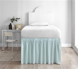 Dorm Sized Bed Skirt Panel with Ties - Hint of Mint