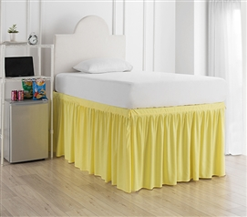 Essential College Bedding Dorm Sized Bed Skirt Panel with Ties for Twin XL Sized Bed Beautiful Limelight Yellow Color
