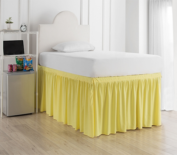 Stylish Bed Skirt Panels With Ties For Dorm Room Bed Bright And Fun