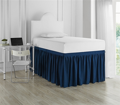 Essential College Bedding Nightfall Navy Dorm Sized Bed Skirt Panel with Ties To Match Twin XL Comforter