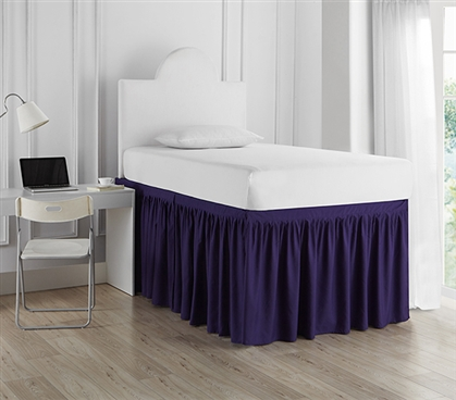 Dorm Sized Bed Skirt Panel with Ties - Purple Reign