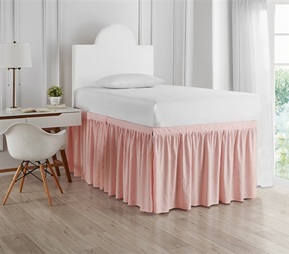 Dorm Sized Bed Skirt Panel with Ties - Rose Quartz