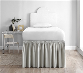 Dorm Sized Bed Skirt Panel with Ties - Silver Birch