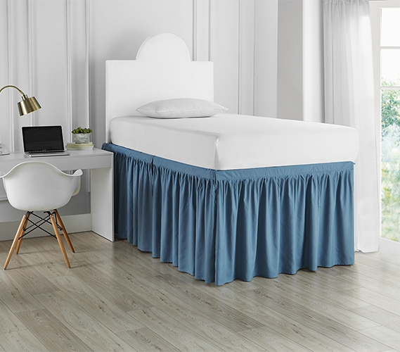 Dorm Sized Bed Skirt Panel With Ties Smoke Blue