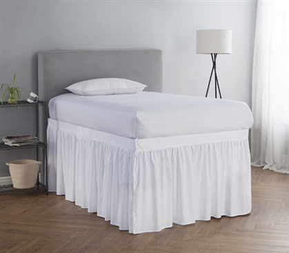 Dorm Sized Bed Skirt Panel With Ties White