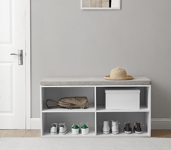 Yak About It Double Seater Storage Bench With Top Cushion White
