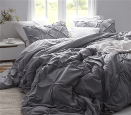 Alloy Pin Tuck Twin XL Duvet Cover