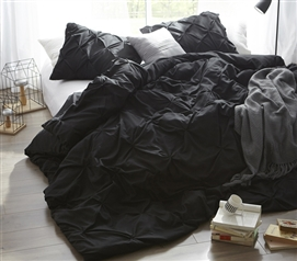Elegant Dorm Duvet Cover One of a Kind Black College Bedding with Beautiful Pin Tuck Design