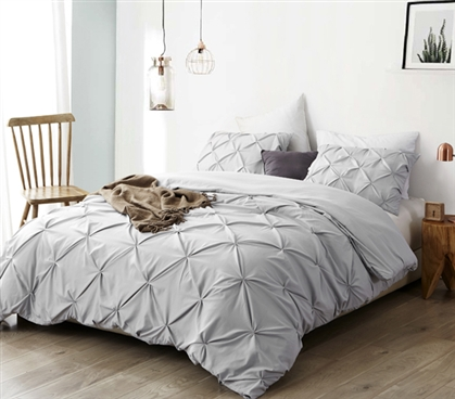 Essential Dorm Room Bedding Pretty Glacier Gray Stylish Extra Long Twin Duvet Cover