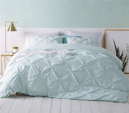 Hint of Mint Green College Bedding Beautiful Twin XL Duvet Cover with Pin Tuck Design