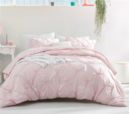 Duvet Cover Rose Quartz Pin Tuck Twin XL