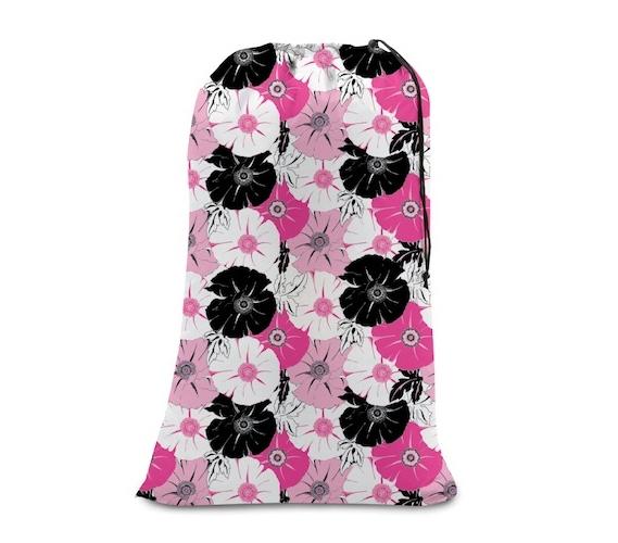 college girl laundry bag - pink & black floral - dorm room style