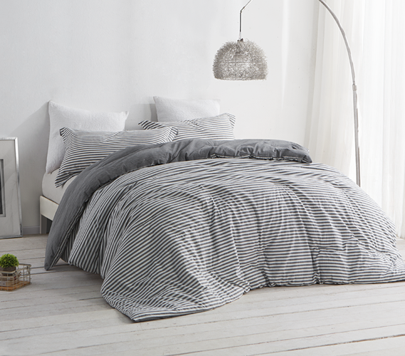 Dorm Room Bedding Striped Gray and White College Comforter