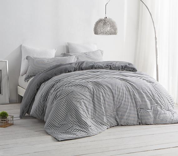 Dorm Room Bedding Striped Gray And White College
