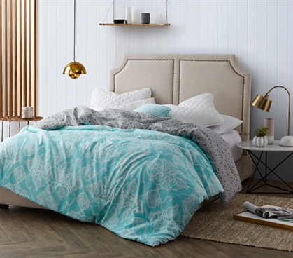 Dorm Bedding Twin XL Dorm Comforter Aqua Mint Patterned Bedspread