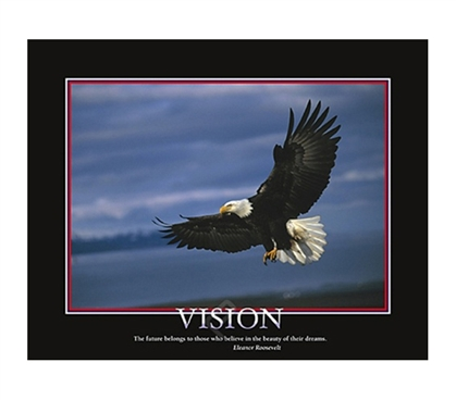 Vision Inspirational College Dorm Poster super fly eagle inspires you to keep your vision in this dorm room poster