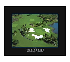 Challenge Golf Course College Dorm Poster motivational dorm room poster of golf course representing challenge