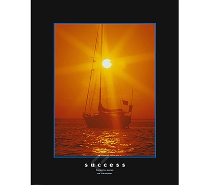 Success Sailing Inspirational College Dorm Poster positive message and a beautiful sunset dorm room motivational poster