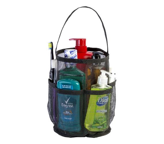 Shower Bag canvas black mesh tote - strongest shower bag dorm shower tote