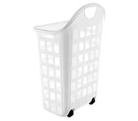 Laundry Hamper With Wheels - White