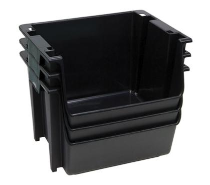 Large Stackable Dorm Storage 3 Bins Black