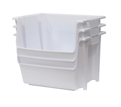 Large Stackable Dorm Storage 3 Bins White