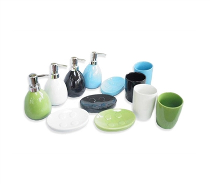3 Piece Ceramic Bathroom Set (4 Colors) - Cool Bathroom Supply
