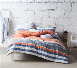 Striped dorm room comforter - Blue, orange, and white - Twin XL