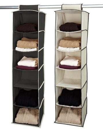 Gray And Cream 6 Shelf Hanging Sweater Organizer