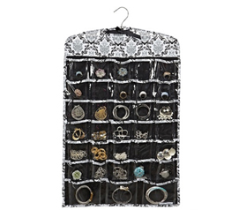 Don't Lose Jewelry - Jewelry Organizer - Black & Gray Damask - Organize Your Accessories