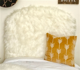 Off-White Dorm Room Decor Stylish Mongolian Fur One of a Kind College Headboard