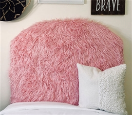 Mongolian Fur Unique Dorm Room Headboard for Twin XL Bedding One of a Kind Furry Pink College Decor
