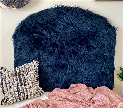 Mongolian Fur Navy College Headboard