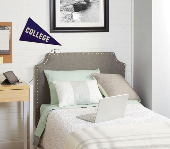 The Powered College Headboard Light Grey College Dorm
