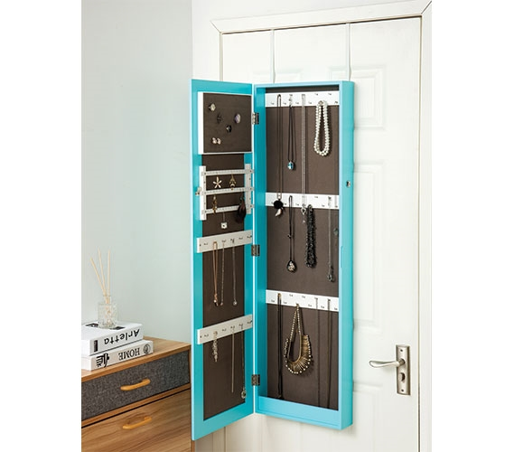 Aqua Full Length Hanging Mirror With Jewelry Cabinet