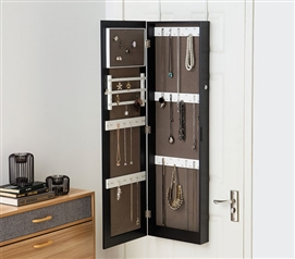 Black Full Length Hanging Mirror With Jewelry Cabinet (College Ave) Dorm  Storage